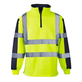 Supertouch High Vis Yellow 2 tone Rugby Shirt: 3174