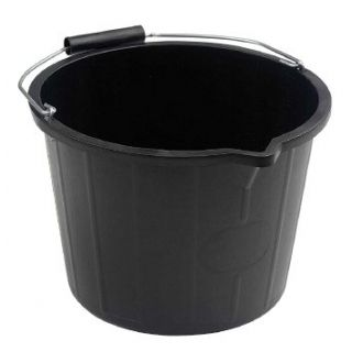Bucket Black Plastic 3 Gallon (15 Ltr)